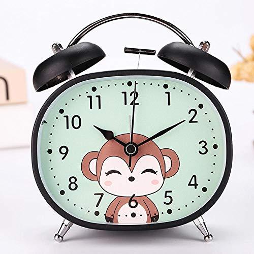 RXQCAOXIA Reloj despertador analógico de cuarzo con doble campana, reloj despertador silencioso de barrido de noche, alarma fuerte, funciona con batería con luz nocturna, azul y negro A (mono)
