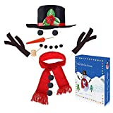 Llamaababie Outdoor Snowman Kit, Build Your Own Snowman Set of 16 Pieces Including Hat Scarf Eyes Hands Carrot Nose and Mouth, Snowman Christmas Decor & Gift