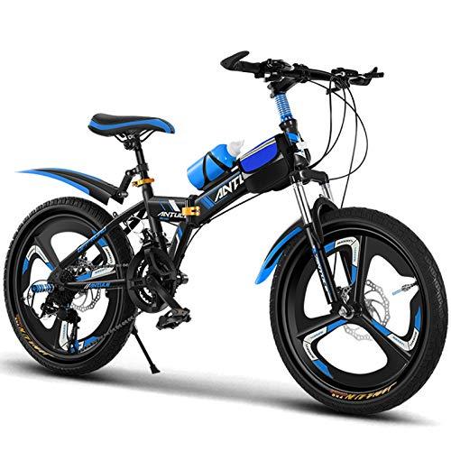 Axdwfd Infantiles Bicicletas 20'Niños Bicicleta Al Aire Libre, para 9-14 Años, Niños, Niños, Niñas, Niños, Chicos Ajustables, Bicicleta De Montaña, Azul, Rosa (Color : Blue)