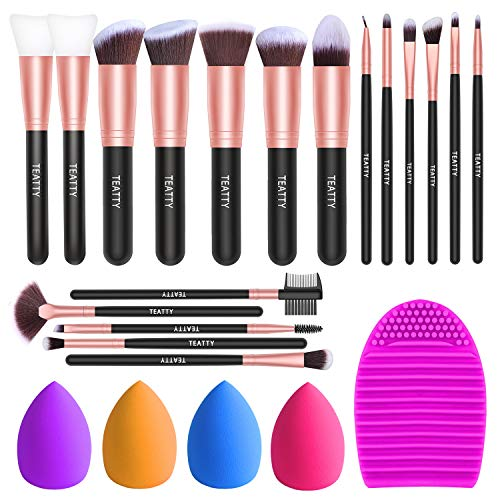 TEATTY Makeup Brushes 18 PCs Makeup Brush Set 2 PCS Silicone Face Mask Brushamp4 Blender Spongeamp1 Brush Cleaner Premium Synthetic Foundation Powder Concealers Eye Shadows Makeup Brushes Kit Rose Gold