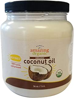 Purely Amazing Organics - Certified Organic Refined Coconut Oil (54 Ounce) Non-GMO Cold Pressed, Great for Skin, Hair and Cooking