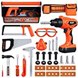 iBaseToy 32 PCS Kids Tool Set | Pretend Play Kids Tool Toy with Tool Belt / Toy Drill Tool Set / Tool Box | Kids Play Tool Kit | Construction Accessories Gift for Age 3,4,5,6,7 Years Old Boys