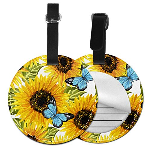 DIYLuggageTags Bright Yellow Sunflower RoundLuggageTag TravelTagsforLuggageWomen with Adjustable Black Strap for Bags & Baggage with Privacy Protection for Women Men