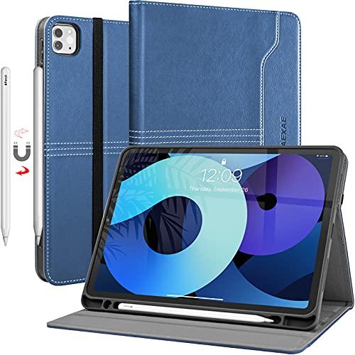 ZAEXAE Hülle für iPad Pro 11 Zoll (3. Generation 2021 / 2. Gen 2020 / 1. Gen 2018), PU Leder Weiches TPU Protect Cover Hülle mit Apple Pencil Holder Auto Wake/Sleep Funktion, Mehrere Winkel, Blau