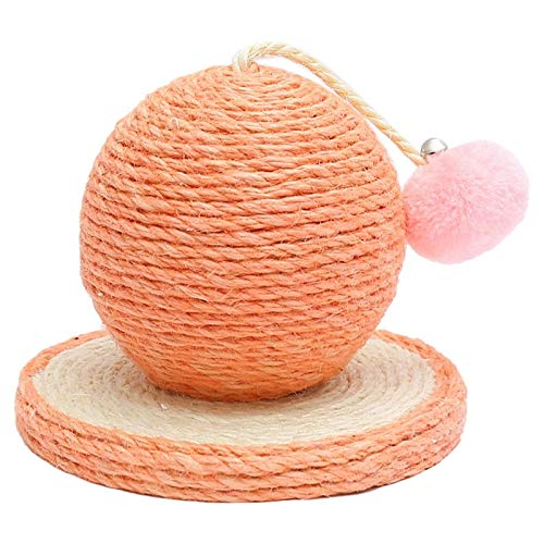 HDDFG Bola de Cactus de rasguño de sisal Tejida Resistente al Desgaste con Base de Madera Tablero de rasguño de Juguete para Mascotas Bola Rascador de Gato Árbol (Color : Pink)