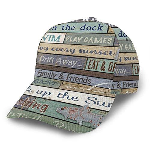 Gorra de béisbol curvada con reglas 3D para signos de madera del río con ala curvada ajustable Snapback gorras deporte papá sombrero camionero para hombres y mujeres negro