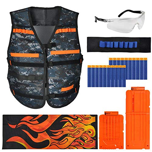 Kids Tactical Vest Kit for Series-- Camouflage Vest, 6/12-Darts Quick Release Clips, Wristband, Protective Glasses, Face Tube Mask and 20Pcs Bullets