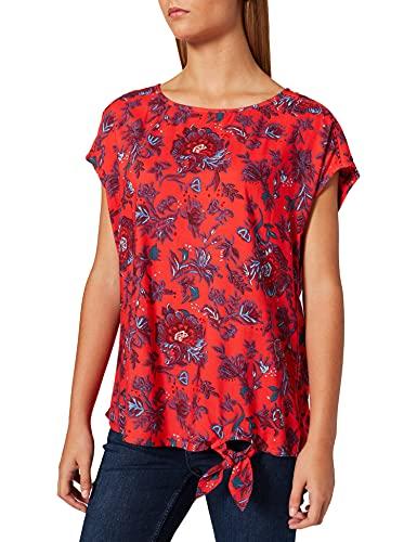 Damenbluse Kurzarm Blumen-Muster Sommerbluse Knoten