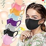 KJC 7 Stück Mundschutz Erwachsene Multifunktionstuch Seide Waschbar Wiederverwendbar Nasenbügel Mode Atmungsaktiv Staubdichte Mund und Nasenschutz Halstuch Bandana (A - 1)