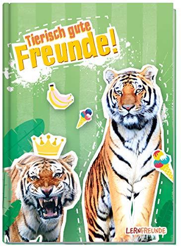 Freundebuch Schule für Jungs und Mädchen [Tiger] Hardcover Poesiealbum, liebevoll und witzig gestaltet - von Lernfreunde by Häfft | nachhaltig & klimaneutral