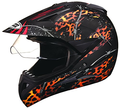 Studds Motocross D1 Full Face Helmet (Matt Black N12, L)