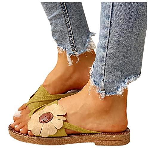 Tongs Femme Sandales Plates Confort Plage Sandales,Tongs des Fleurs Impression Adorables Sandales d été Amusantes Femme été Sandales Plage et Piscine Chaussures Décontractées