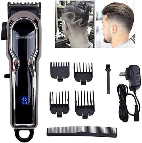 LMZJLU Haarschneidemaschine Für Männer Professionelle LCD Digital Micro Einstellen Taste Elektrische Haarschneidemaschine Haarschneider Erwachsene Kind Universal Haushalt Drahtlose Haarsch.