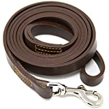 """🐕 BEAUTIFUL FULL GRAIN LEATHER LEASH - Made from a single piece of natural full grain leather, these dog leashes are 6' long and 5/8"""" wide with a nickel plated solid brass swivel bolt snap hook. 🐺 TRAINER RECOMMENDED - Professional dog trainers world..."""