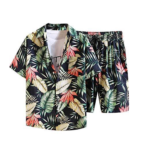 Men's 2 Piece Tracksuit Floral Tropical Print Button Down Hawaiian Shirt Elastic Band Drawstring Shorts Beach Outfit