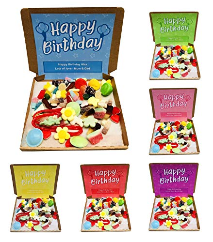 Happy Birthday Pick N Mix Retro Sweets Box Sweet Candy Hamper - 300g - Personalised Gift Message (Blue)