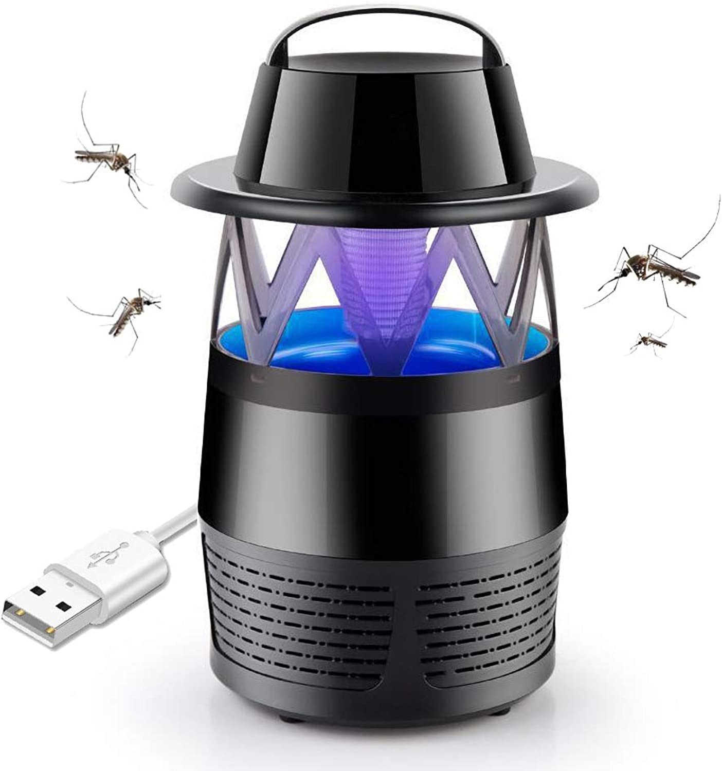 Large LED Mosquito Killer Lamp,USB Portable Electronic Insect Killer,Fly Pest Trap Catcher for Home Kitchen Garden Patio Yard,Black