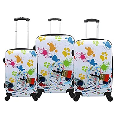Chariot Doggie 3-Piece Expandable Hardside Lightweight Spinner Luggage Set, Paint