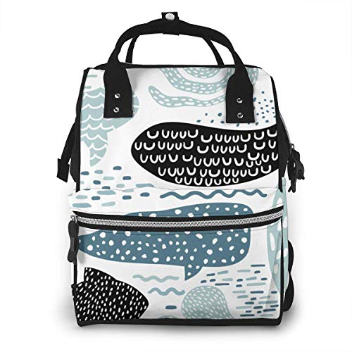 JUKIL Sac à dos à couches Cartoon Sea Animal Fur-Seal Whale Octopus Fish Pattern Fashion Diaper Bags Mummy Backpack Multi Functions Large Capacity Nappy Bag Nursing Bag for Baby Care for Traveling