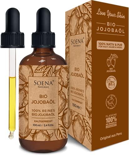 BIO JOJOBAÖL | Kaltgepresst 100% Rein | Für Haare Haut & Nägel | Frei von Zusatzstoffen | Original aus Peru | 100ml im lichtgeschützten Braunglas | Natürliche Feuchtigkeitspflege von Soena Naturals