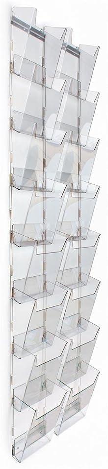 彫刻クリープキノコ壁Magazine Rack with 16階層型ポケット、2列の8、フルビュー?–?クリアアクリル