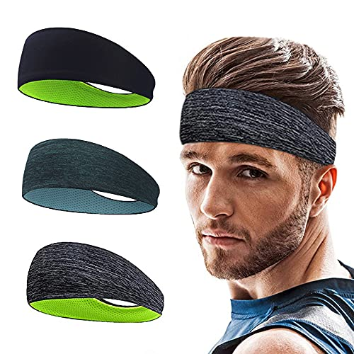 Roysmart Sport Stirnband, Schweißband Anti Rutsch für Jogging, Laufen, Wandern, Fahrrad - Stirnbänder für Herren und Damen - 3 Pack