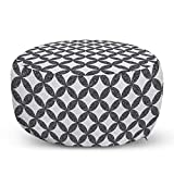 "Ambesonne Abstract Pouf Cover with Zipper, Tile Inspired Elements Natural Stones Stars and Pebbles Leaves Dotted Style, Soft Decorative Fabric Unstuffed Case, 30"" W X 17.3"" L, White Dark Grey"
