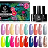Best Gel Polish Kits - Beetles Gel Nail Polish Set-Dark Red Glitter Purple Review