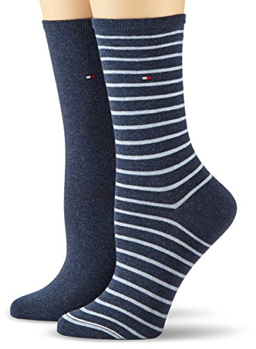 Tommy Hilfiger Damen TH WOMEN SMALL STRIPE 2P Socken, Blau (jeans 356), 39/42 (2er Pack)