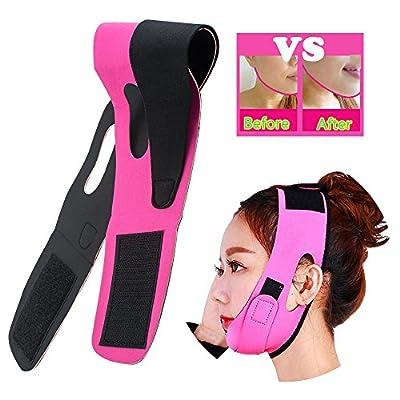 Risingmed V Face Line Belt Chin Cheek Slim Lift Up Anti Wrinkle Mask Ultra-thin Strap Band V Face Line Belt Strap Band-Red Breathable (Pink)