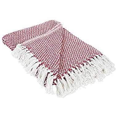 DII 100% Cotton Basket Weave Throw for Indoor/Outdoor Use Camping BBQ's Beaches Everyday Blanket, 50 x 60, Red