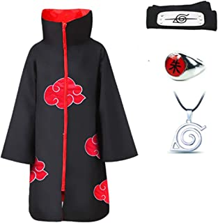 4Pcs Halloween Cosplay Akatsuki Cloak Costume with Headband Necklace and Ring Itachi Cosplay for Unisex Naruto Fans