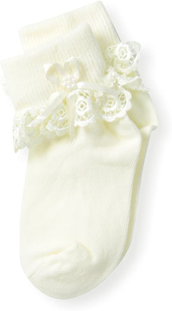 Country Kids Baby-Girls Newborn Venice Lace with Pearl Streamer Sock