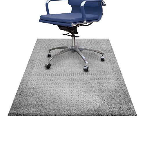 etm® Bodenschutzmatte 90x120 cm (mit Lippe) Teppichboden | extra transparent und rutschfest | optimales Gleitverhalten für Stuhlrollen | weitere Größen wählbar