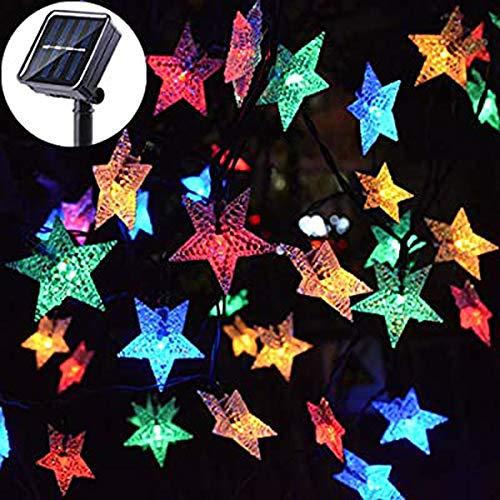 WAZA - Luci A Stella, 20 LED, 5 M, 2 Modalità Di Luce Per Tenda Solare, Decorazione Per Giardino, Casa, Feste, Matrimoni, Natale RGB