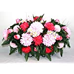 XL-Fall-Mixture-Artificial-Silk-Flower-Cemetery-Tombstone-Grave-Saddle
