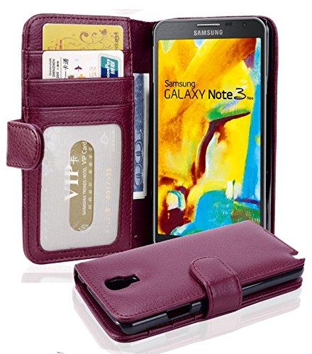 Cadorabo Hülle für Samsung Galaxy Note 3 NEO - Hülle in Bordeaux LILA – Handyhülle mit 3 Kartenfächern - Hülle Cover Schutzhülle Etui Tasche Book Klapp Style