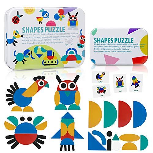 ZWOOS Tangram Madera, Formas y Colores Puzzles de Madera 36