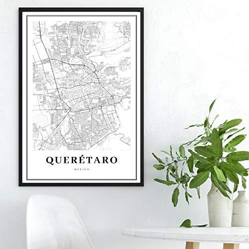 XLXZZ Impresión de Mapa de Querétaro en Blanco y Negro, Cartel de Mapa de Carreteras de la Ciudad de México, Arte de Pared, Pintura en Lienzo, decoración del hogar-50x70cmx1 pcs sin Marco