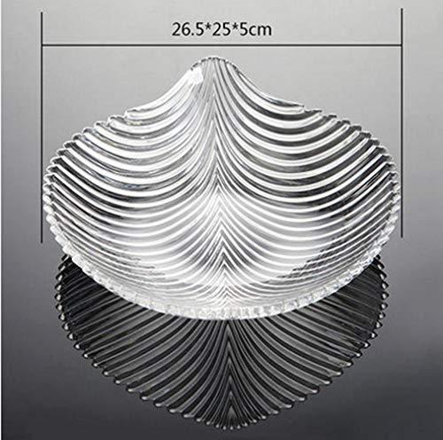 L.BAN Plato de Fruta de acrílico Moda Creativa Bandeja de Almacenamiento de Agua de acrílico en Forma de Hoja Caja de bocadillos de Frutos Secos, Medio Transparente