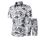 Outfits Set for Men, F_Gotal Men's Outfits Beach Shorts African Floral Print Two Piece Cotton Linen Outfits...