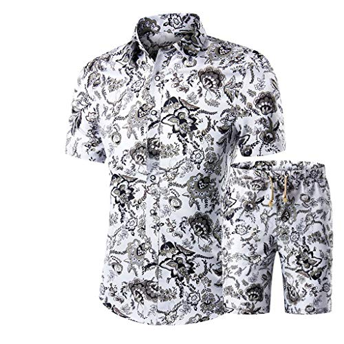 Magiyard T-Shirt Un Short+Chemise imprimée,Ensemble d'été Homme Combinaison Jumpsuit Décontractée Impression de col Montant Bouton Manches Courtes Ensemble Chemisier Blanc M