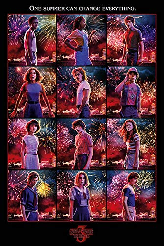 Stranger Things Póster Collage [Season 3] (61cm x 91,5cm) + 2 Marcos Transparentes con suspención