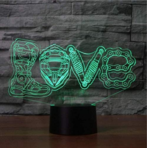 giyiohok 3D LED 7 Color Changing Mechanical Love Modeling Night Light Desk Lamp Home Decor Motorcycle Fans Gift