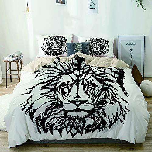 JIOLK Juego de Ropa de Cama 3 Piezas Microfibra,Sketch Art of African Safari Animal King of The Jungle Savannah Wildlife,1 Funda Nórdica y 2 Funda de Almohada (Cama 140x200)