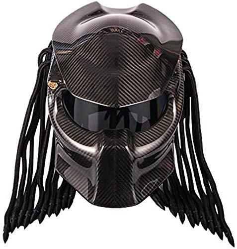 DZTIZI Motorradhelm Predator Fiber Carbon Fiber Das Coolste Full Face Iron Warrior Herren- Und Damenhelm Anti-Fog-Objektiv,Black-XXL63-64cm