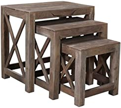 Crestview Collection CVFNR516 Bengal Manor Acacia Wood Set of Nested Tables Furniture