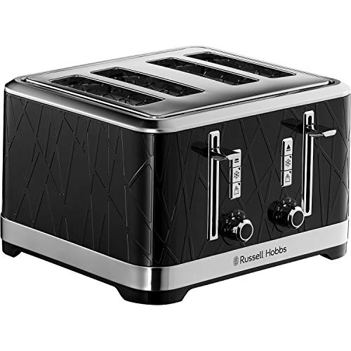 Russell Hobbs 28101 Structure Toaster, 4 Slice - Contemporary Design Featuring Lift and Look with Frozen, Cancel and Reheat Settings, Black