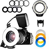 SAMTIAN Macro Ring Flash Photography with 18pcs SMD LED Light, with LCD Display for Canon Nikon Sony Panasonic Olympus and Other DSLR Camera