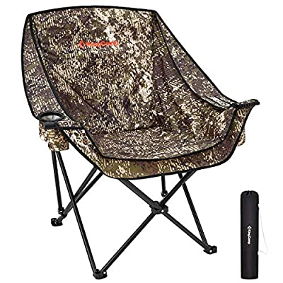 KingCamp Oversize Camping Folding Sofa Chair Padded Seat with Cooler Bag and Armrest Cup Holder (Black/Camouflage) (Camouflage)